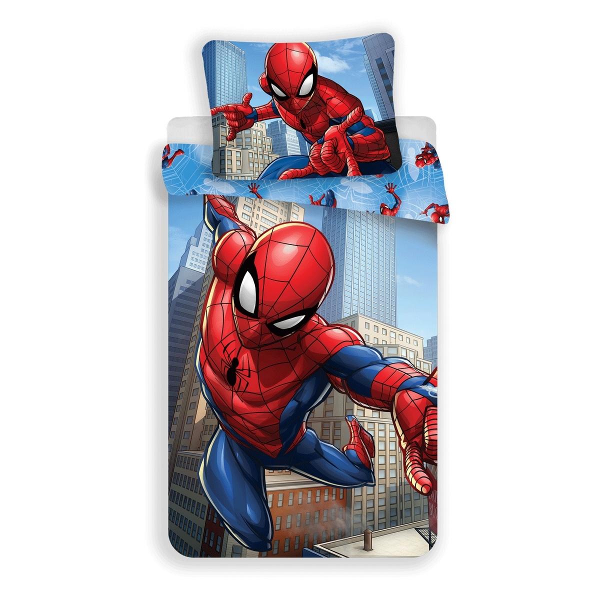 Jerry Fabrics Dětské povlečení Spiderman Blue micro (048), 140 x 200 cm, 70 x 90 cm