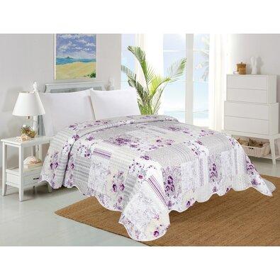 Přehoz na postel Kytka fialová, 220 x 240 cm
