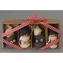 Vánoční dekorace Pletené panenky 4 ks, béžová