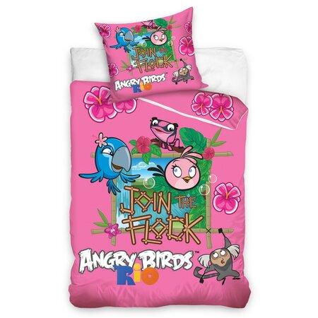 Lenjerie din bumbac pentru copii Angry Birds Rio  Stella, 140 x 200 cm, 70 x 80 cm