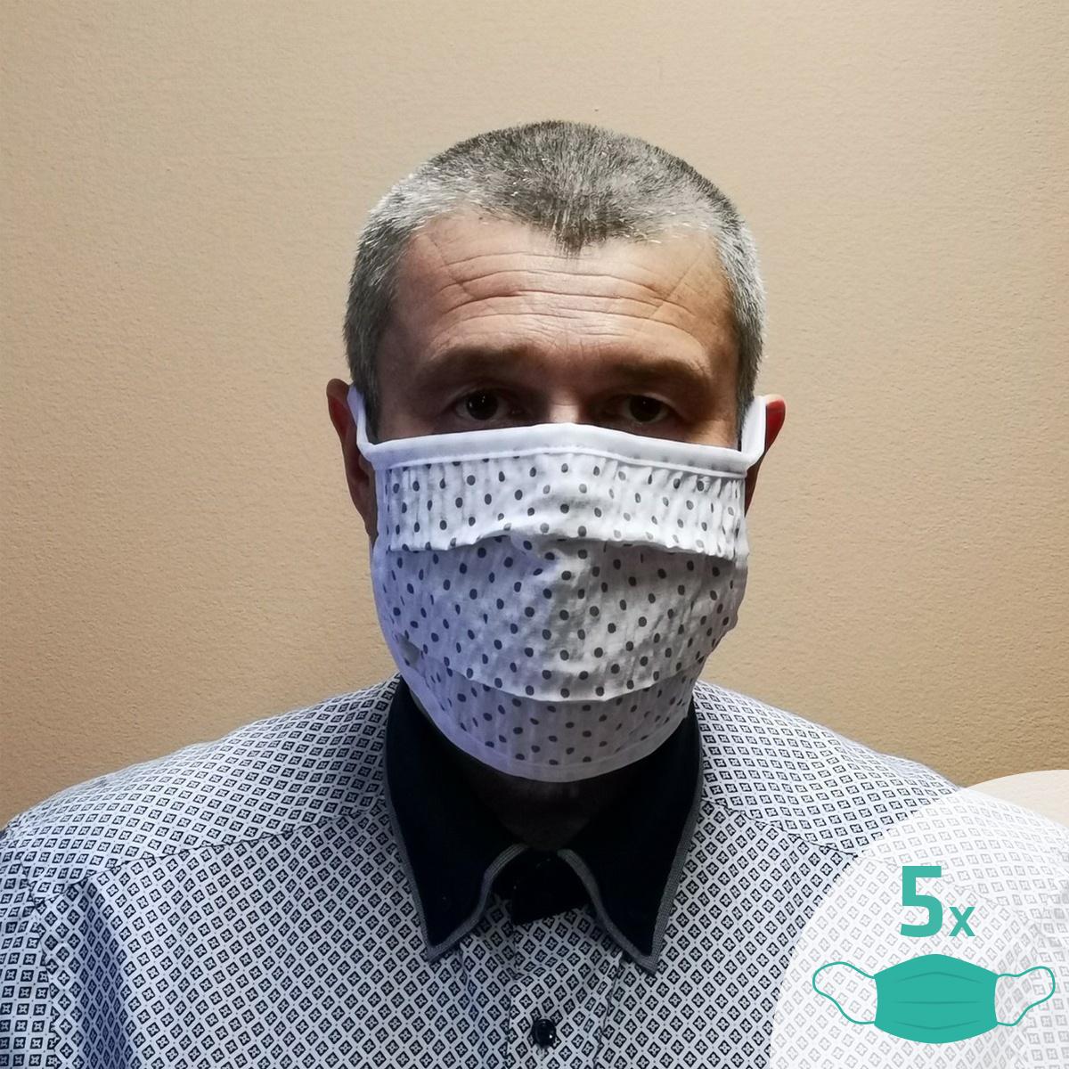 Masca facială Sanybetka din bumbac, set 5 buc., mărime universală imagine 2021 e4home.ro
