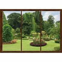 Fototapeta XXL Okno z widokiem na ogród 360 x 270 cm, 4 części