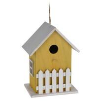 Drevený vtáčí domček žltá, 23 cm