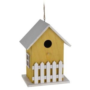 Dřevěný ptačí domek žlutý, 23 cm