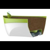 Samozavlažovací truhlík Doppio sv. zelená + šedá