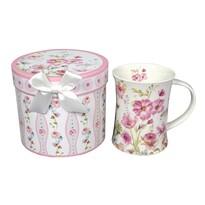 Porcelán bögre Rózsaszín virágok 300 ml  ajándékcsomagolásban