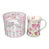 Porcelánový hrnček Ružové kvetiny 300 ml v darčekovej krabičke