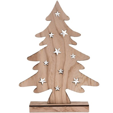 Dekoratív karácsonyi LED fa, barna