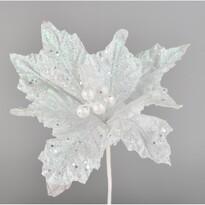 Umělá Poinsettie bílá, 25 cm