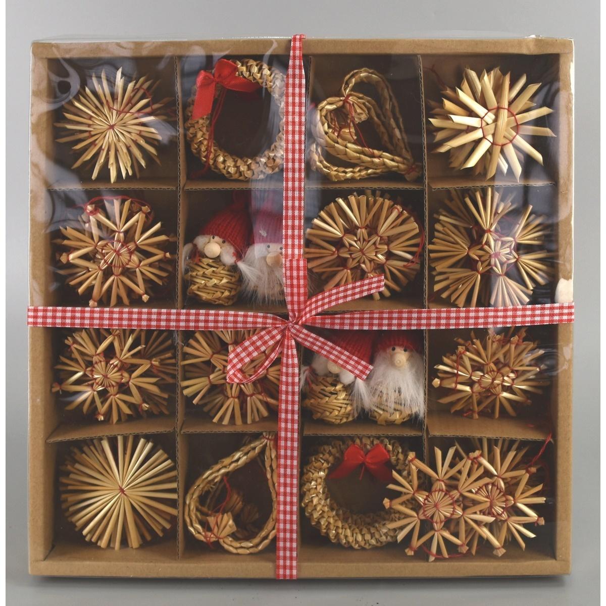 Slaměné ozdoby na vánoční stromeček, 56 ks