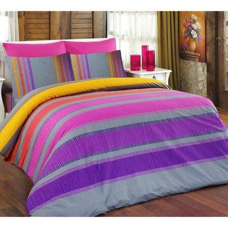 Bavlněné povlečení Elle fialová, 160 x 200 cm, 2 ks 70 x 80 cm