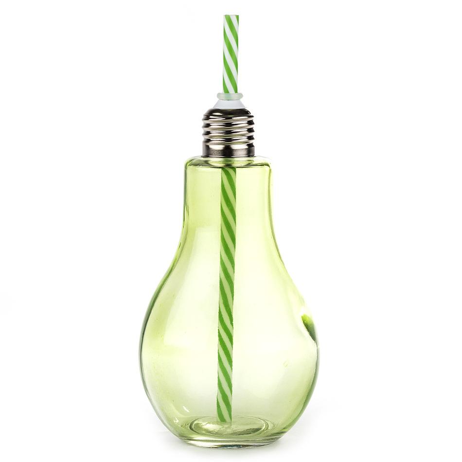 Sklenice s brčkem Žárovka velká 400 ml, zelená
