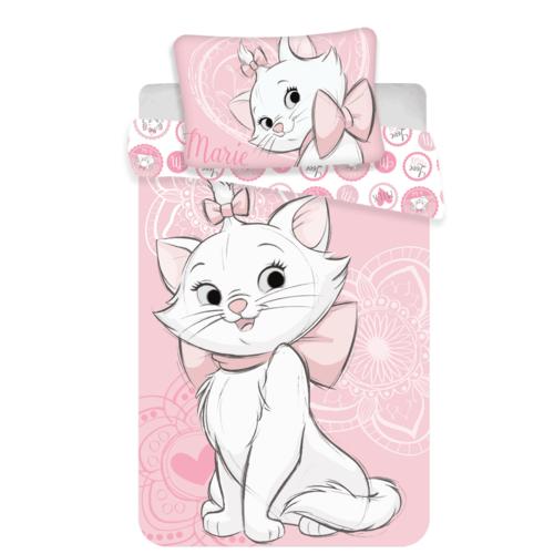 Detské bavlnené obliečky Marie Cat pink heart, 140 x 200 cm, 70 x 90 cm
