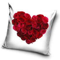 Mała poduszka Serce z różą biały, 40 x 40 cm