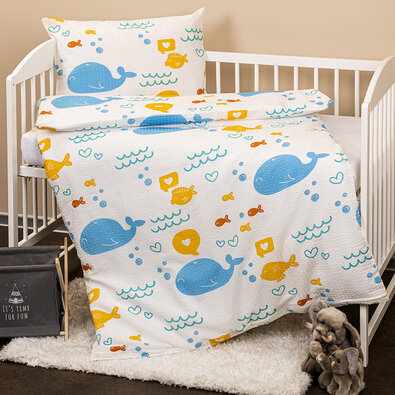 Lenjerie de pat copii, din crep, 4Home Balene, 100 x 135 cm, 40 x 60 cm