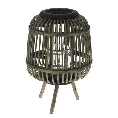 Bambusový lampáš so sklom Tumba, 19 x 22 cm