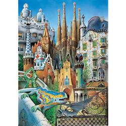 Puzzle miniatura Gaudí: Koláž, 1000 dílků