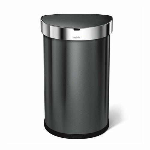 Simplehuman Bezdotykový odpadkový půlkulatý koš 45 l, černá