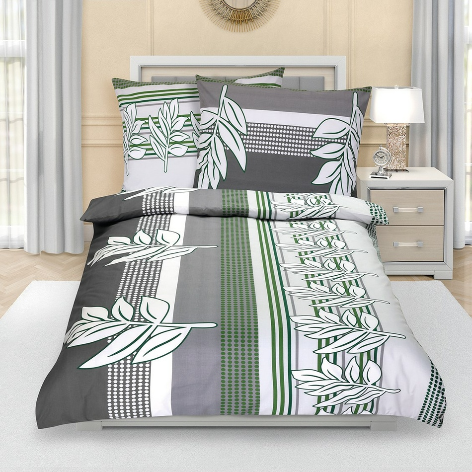 Bellatex Bavlnené obliečky Lupeň sivo-zelená, 140 x 220 cm, 70 x 90 cm, 140 x 220 cm, 70 x 90 cm