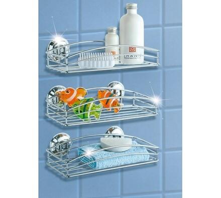 Koupelnová drátěná polička, stříbrná