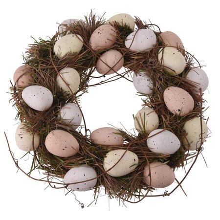 Húsvéti koszsorú tojásokkal bézs, átmérő 34 cm