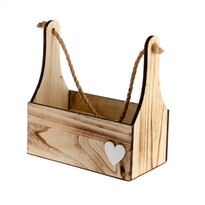 Drewniana skrzynka do zawieszenia Heart in wood, 27 x 34 x 15 cm
