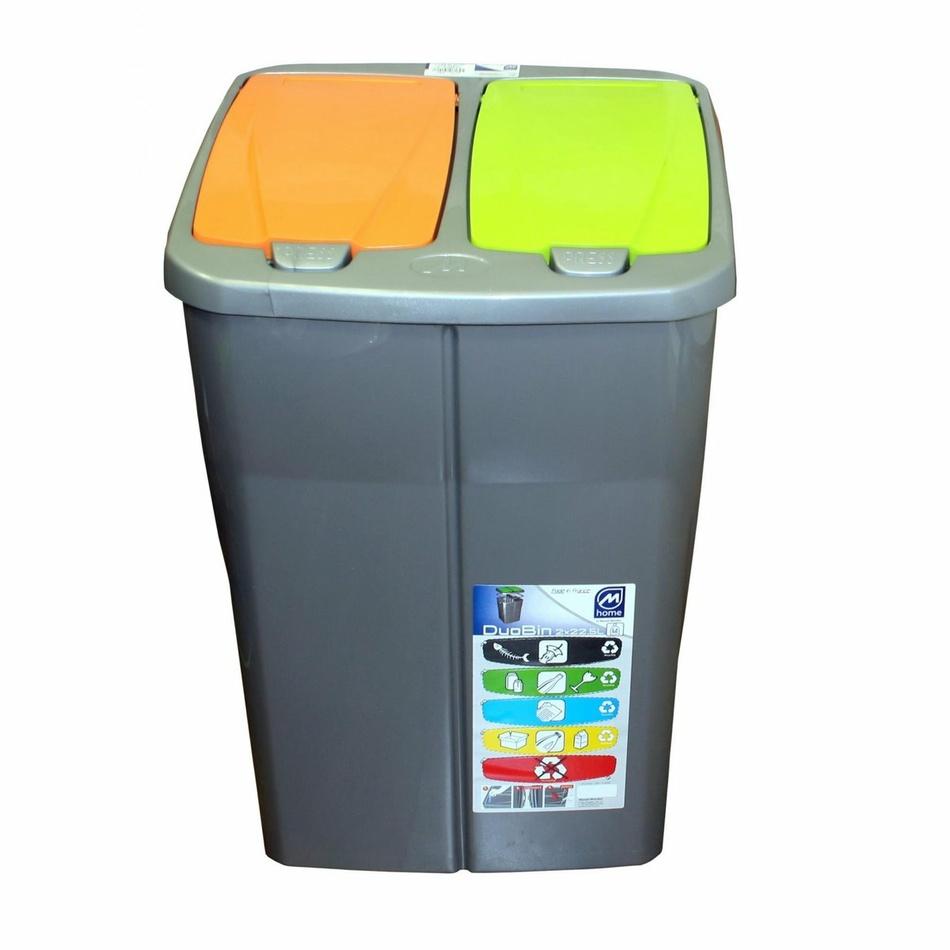 Koš na tříděný odpad dvojitý 45l víko zelené a oranžové
