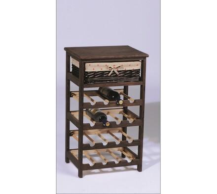 Dřevěný stojan na víno s ratanovou zásuvkou