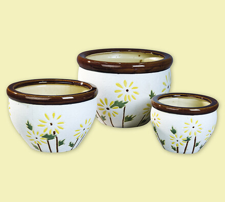 Květináče z keramiky, žlutá