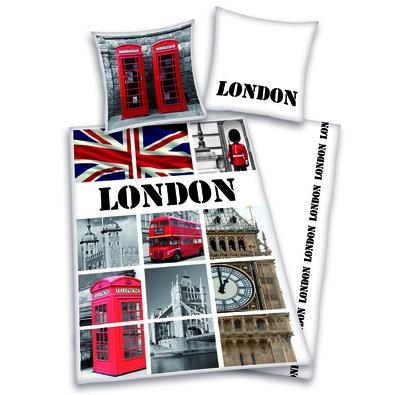 Bavlněné povlečení London collage, 140 x 200 cm, 70 x 90 cm