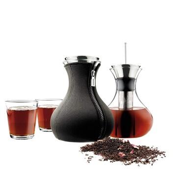 Čajová konvice Tea Maker 1 l černá, sada 2 sklenic