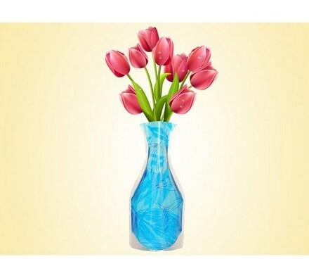 Váza skládací modrá, modrá, 19 x 28 cm