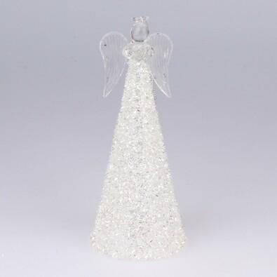 Sklenený anjel so srdiečkom, biela