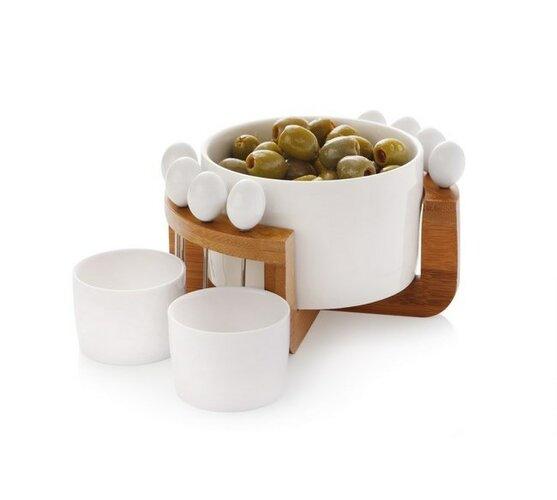 12dielná sada na olivy porcelán&drevo White Basics Bamboo - Maxwell&Williams