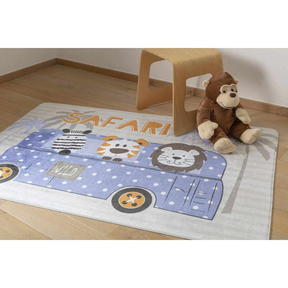 Vopi Dětský koberec Ultra Soft Bus Safari, 90 x 130 cm