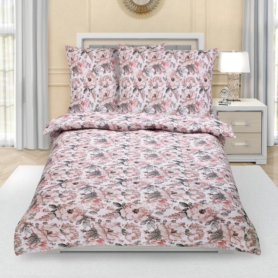Bellatex Krepové obliečky Sivá ruža, 140 x 220 cm, 70 x 90 cm, 140 x 220 cm, 70 x 90 cm