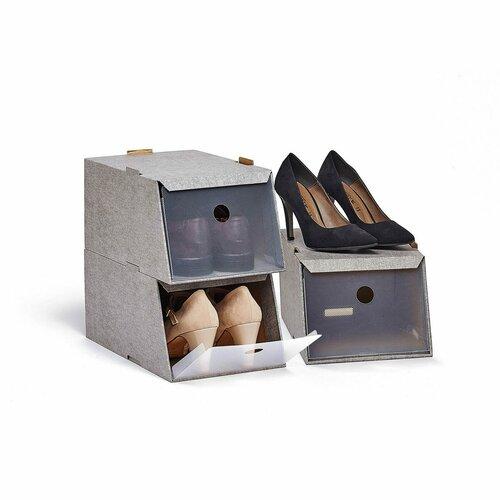 Domopak Living Úložné boxy na obuv, 3 ks, hnedá