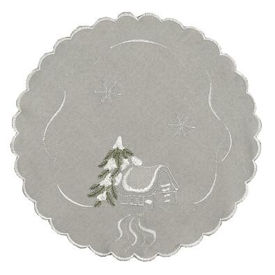Vánoční ubrus chaloupky šedá, pr. 35 cm