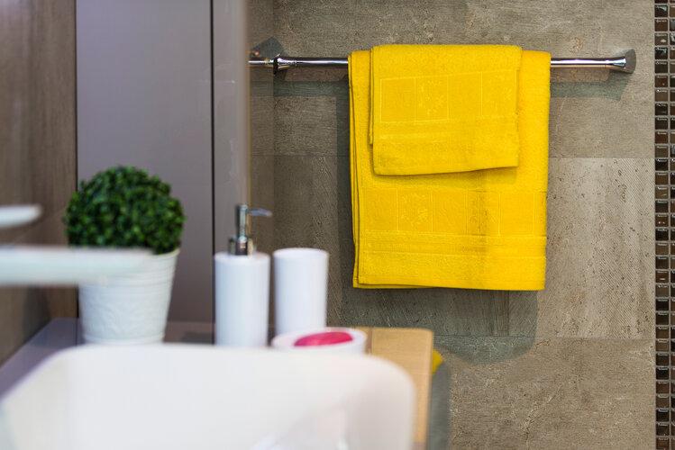 4Home sada Bamboo Premium osuška a ručník žlutá, 70 x 140 cm, 50 x 100 cm