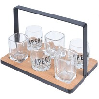 Servírovací podnos se skleničkami, 7 ks
