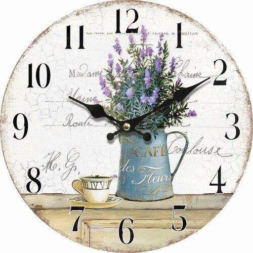 Dřevěné nástěnné hodiny Lavender café, pr. 34 cm
