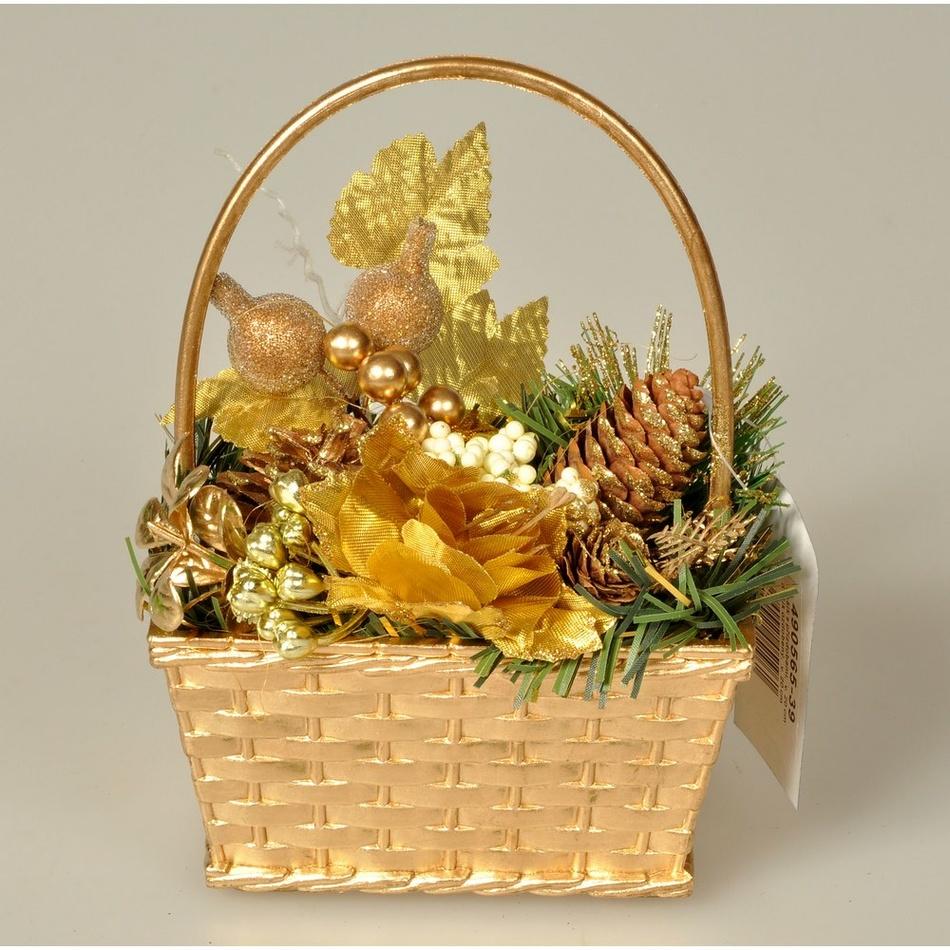 Košík s vánočními ozdobami Nature zlatá, 20 cm