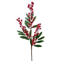 Umelá vetvička s bobuľkami a lístkami 60 cm, červená