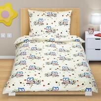 Lenjerie de pat din bumbac Bufnițe colorate, 140 x 200, 70 x 90 cm