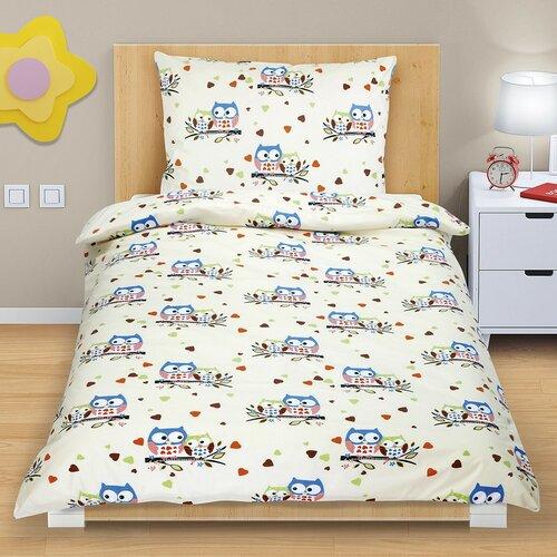 Bavlnené obliečky Farebné sovičky, 140 x 200, 70 x 90 cm