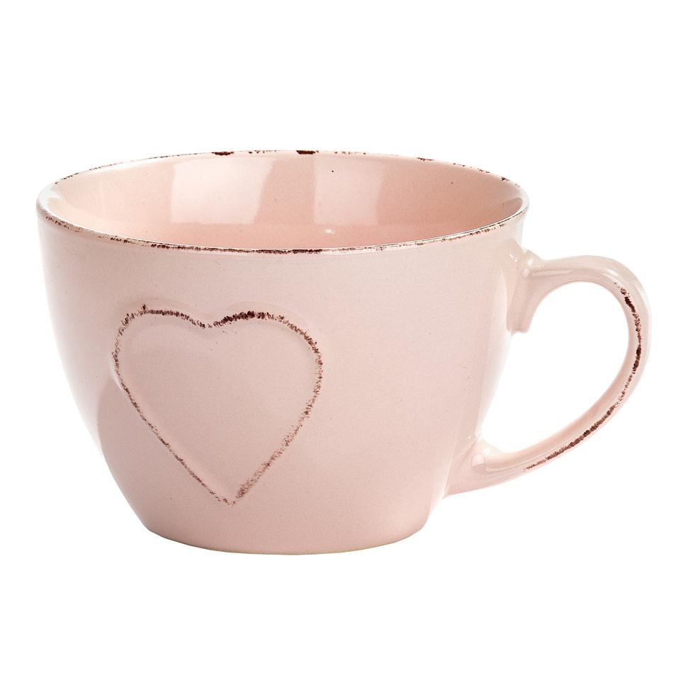 Jumbo hrnek Srdce, růžová