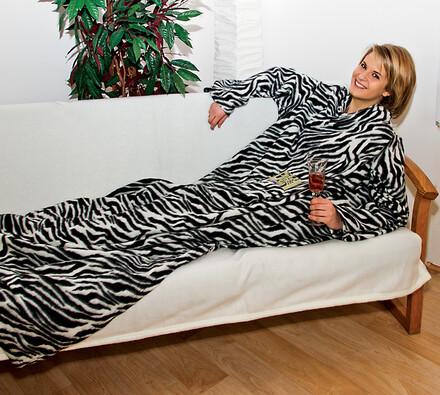 fleecová deka s rukávy, hnědá, 140 x 190 cm