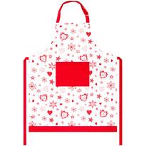 Vánoční zástěra Vločka a srdce červená, 70 x 90 cm