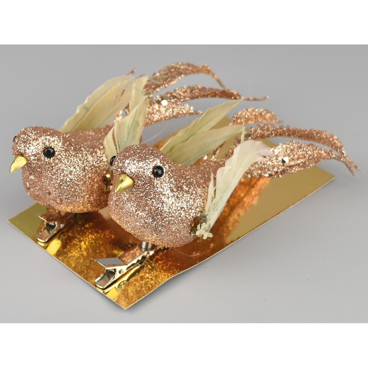 Vánoční dekorace Ptáčci 2 ks, zlatá