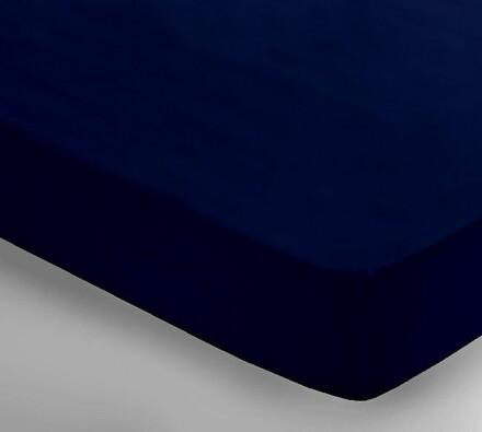Saténové prostěradlo Uni tmavě modrá, 250 x 240 cm